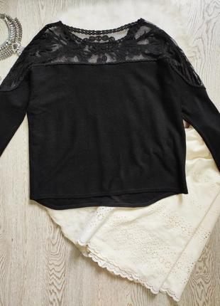 Черная кофта свитер с гипюром сверху на плечах рукавах вышивка гипюр стрейч батал большой
