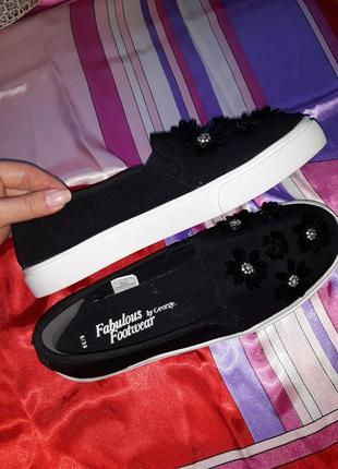 🎁1+1=3 ультрамодные черные туфли слипоны george в пайетках, размер 39