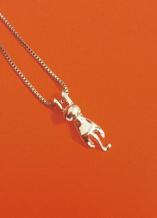 Кулон котик серебро