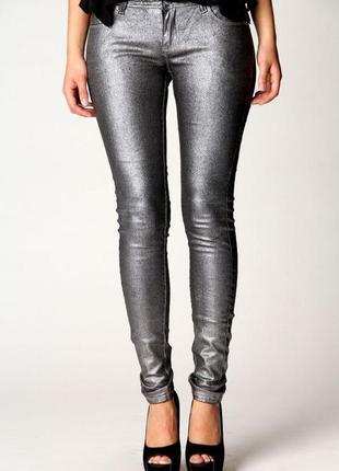 Серые серебряные блестящие металлик джинсы скинни американки высокая талия посадка стрейч