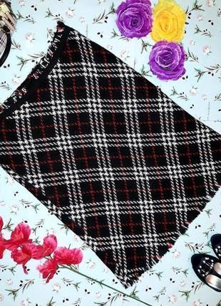 🎁1+1=3 плотная теплаю черная юбка в клетку миди с бахромой quoc.iente, размер 46 - 48