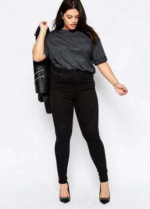 Черные джинсы скинни американки средняя талия посадка супер стрейч батал большой размер