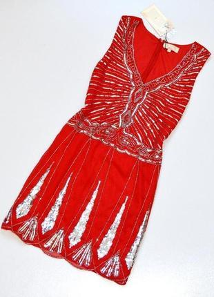 Шикарное вечернее нарядное коктейлное платье расшитое пайетками