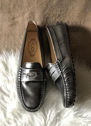 Женские кожаные туфли мокасины топсайдеры лоферы tod's