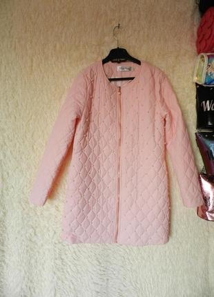 ✅ тонкое пальто украшено жемчужинами демисезон