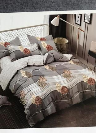 Евро комплект турецкого постельного белья 4 наволочки сатин