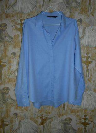В сост. новой блуза рубашка нежно-голубого цвета  zara большой размер  46-48 р.