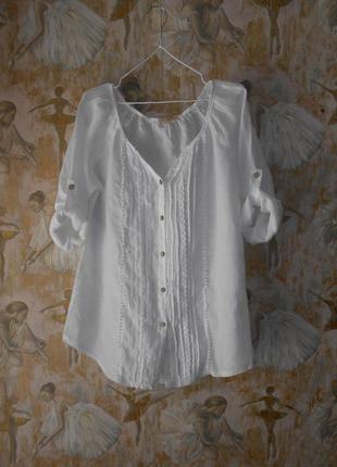 Как новая блузка италия лен  100% с прошвой  42 р.