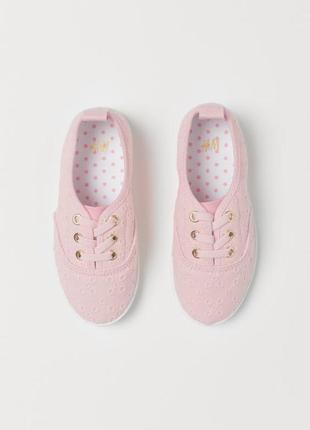 Кеды мокасины h&m розовые ажурные