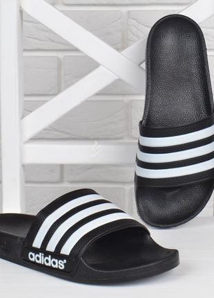 Шлепанцы спортивные adidas черные с белым детские подросток