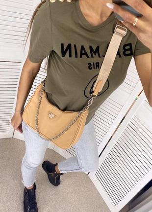 Женская сумка из текстиля 2 в 1 бежевая1 фото