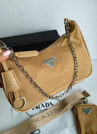 Женская сумка из текстиля 2 в 1 бежевая2 фото