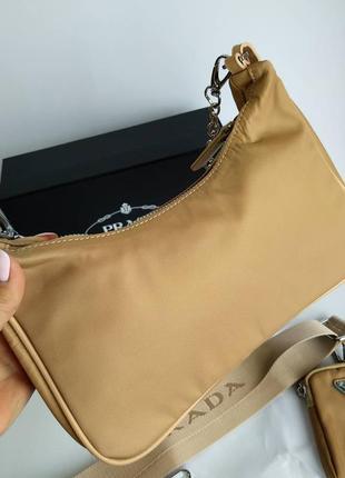 Женская сумка из текстиля 2 в 1 бежевая5 фото