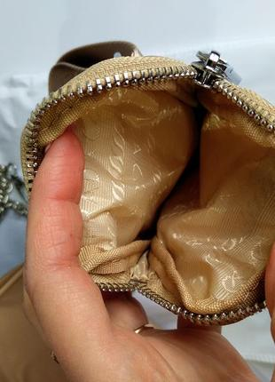Женская сумка из текстиля 2 в 1 бежевая7 фото