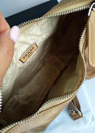 Женская сумка из текстиля 2 в 1 бежевая8 фото