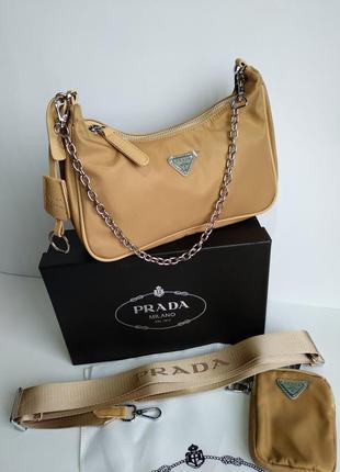 Женская сумка из текстиля 2 в 1 бежевая9 фото
