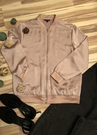 Шикарный бомбер,блуза-бомбер,ветровка цвета «розовая пудра» (великобритания🇬🇧)