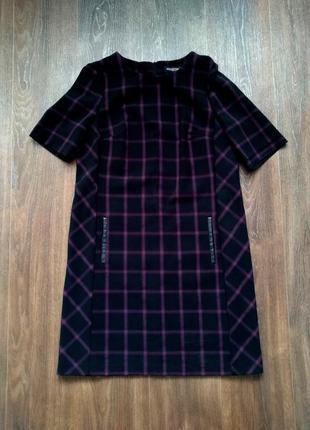 Модное чёрное платье в фиолетовую клеточку 54 размера