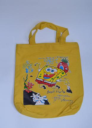 Сумка під руку спанч боб (spongebob), пляжна сумка, сумка-кульок