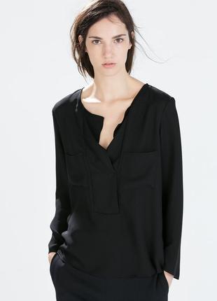 Блуза рубашка с v образным вырезом zara