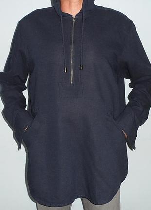 Темно-синяя льняная рубашка с капюшоном/худи. xl