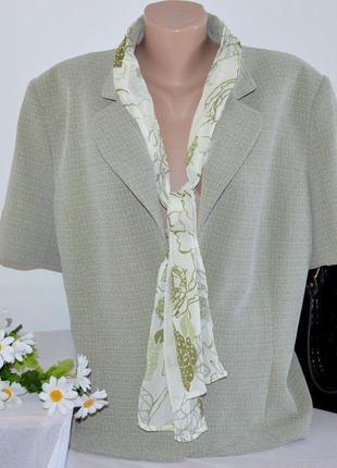 Брендовый пиджак жакет блейзер с шарфом klass collection большой размер этикетка