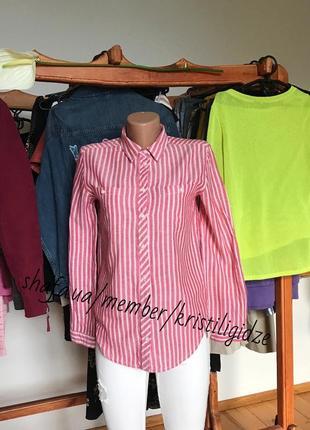 Стильная прямая рубашка в полоску.р-р xs