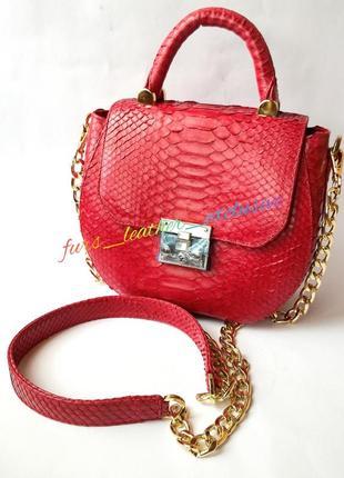 👜красная сумочка из премиум кожи питона