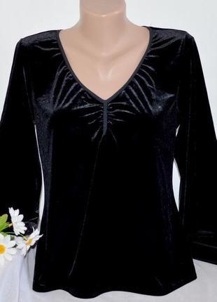 Брендовая черная велюровая блуза кофта max studio