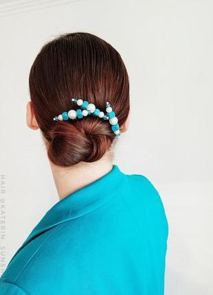 Оригінальні шпильки для волосся бірюзово-перлинові