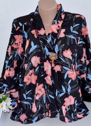 Брендовая блуза кимоно накидка love to lounge принт цветы этикетка