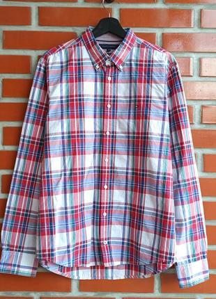 Tommy hilfiger new york fit красно белая рубашка в клетку размер l
