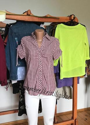 Фирменная рубашка блузка в клетку рукава на утяжках. р-р м