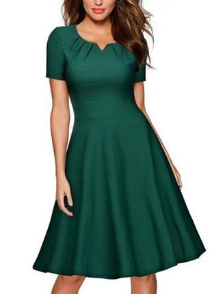 🎁1+1=3 фирменное красивое нарядное изумрудное платье миди, размер 44 - 46