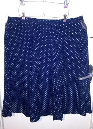 Натуральная,летняя,тёмно-синяя юбка в горошек,на резинке,большого размера,кипр