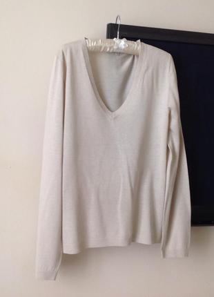 Джемпер шовк айворі  бренду massimo dutti silk cotton blend оригінал