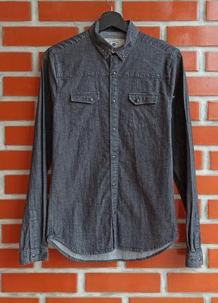 Zara man чёрная джинсовая рубашка размер s