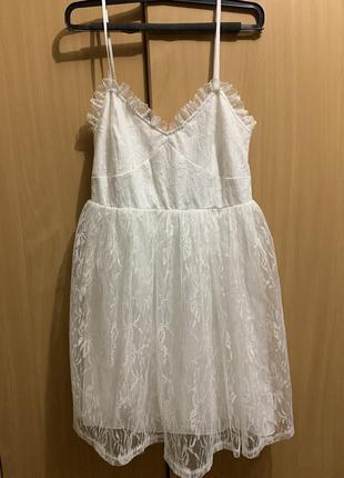 Белое пышное платье на брительках jeane blush, короткое пышное белое платье