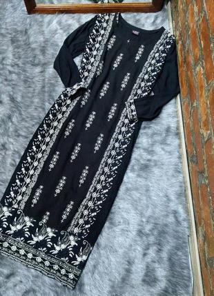 Платье прямого кроя из натуральной вискозы с ввшивкой