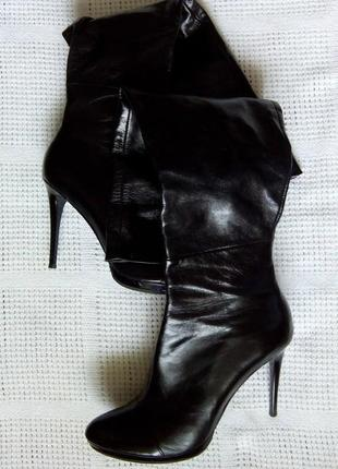 Высокие кожаные сапоги, ботфорты натуральная кожа