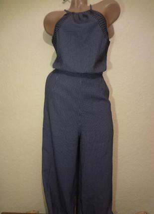 Стильный комбинезон с открытой спиной и расклешенными брюками-кюлотами h&m размер м