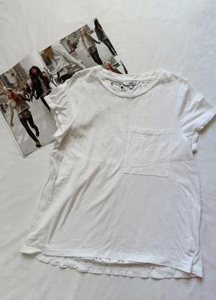 Белая футболка с карманом и ажурной спиной next
