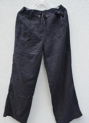 Шикарные женские брендовые брюки лен 100% черные