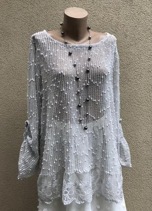 Блуза,кофточка-сетка,кружево по низу,пляжная,этно,бохо стиль,большой размер