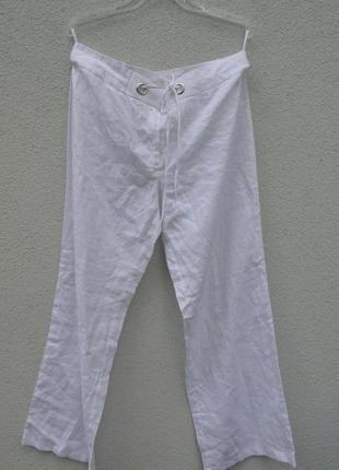 Шикарные брендовые легкие белые брюки 100% лен