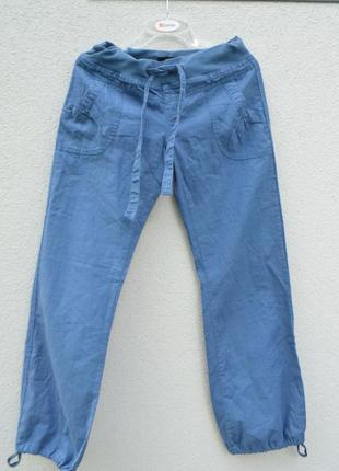 Классные женские легкие натуральные брюки лен котон