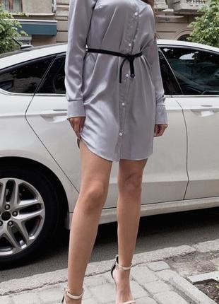 Серое шелковое платье рубашка