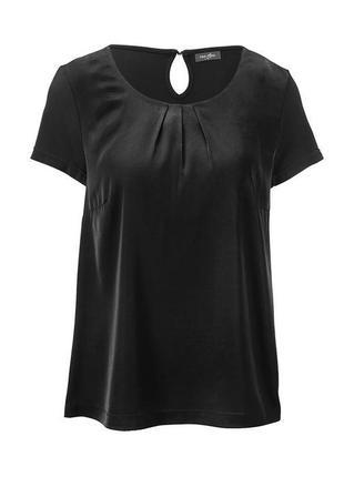 Элегантная блузка-футболка из комбинированных тканей от tchibo, р.40-42 евро=48-50