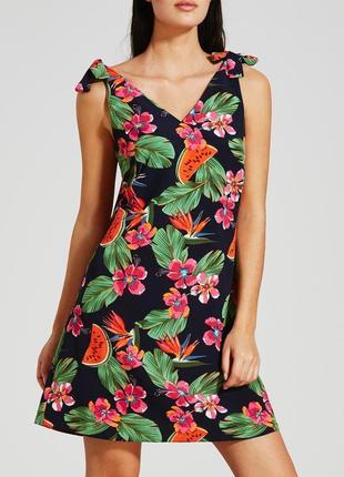Красивое платье сарафан с тропическим принтом, р.18, l-xl