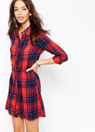 Красное платье рубашка в клетку на пуговицах #only